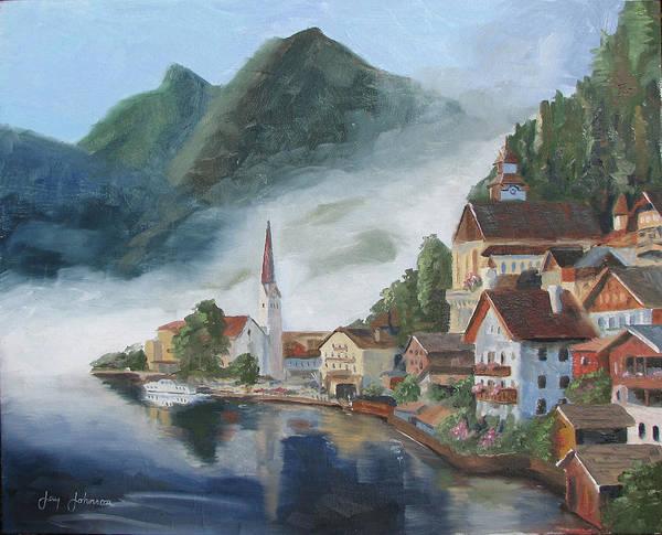 Landscape Poster featuring the painting Hallstatt Austria by Jay Johnson