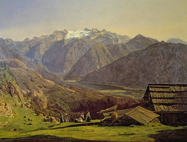 Hallstatter-see Poster featuring the painting Hallstatter See by Ferdinand Georg Waldmuller