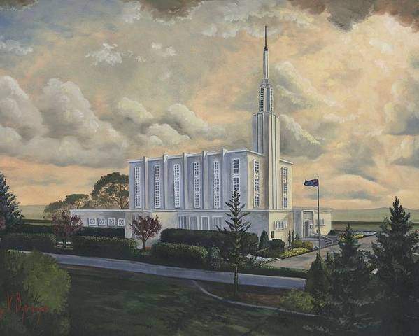 Lds Poster featuring the painting Hamilton New Zealand Temple by Jeff Brimley