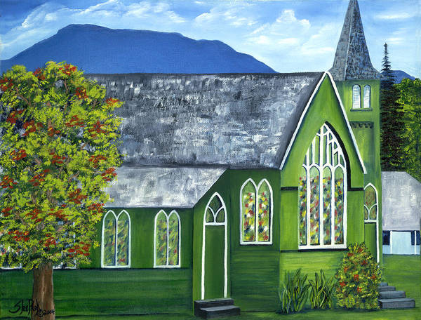 Landscape Poster featuring the painting Hanalei Church by SheRok Williams