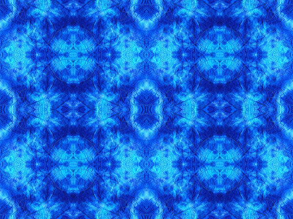 Dyed Poster featuring the digital art Hand-dyed Blue And Turquoise Fabric With Zig Zag Stitch Details by Anita Van Den Broek