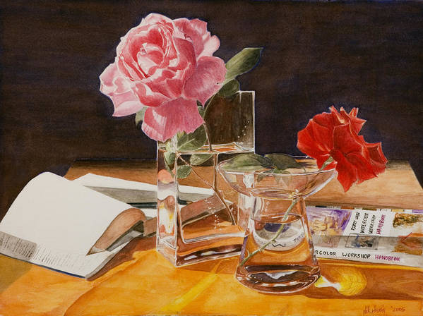 Rose Poster featuring the painting Handbuch by Nik Helbig