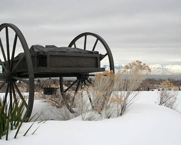 Handcart Poster featuring the photograph Handcart Monument by Margie Wildblood