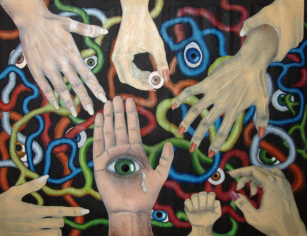 Collage Poster featuring the drawing Hands And Eyes by Nancy Mueller