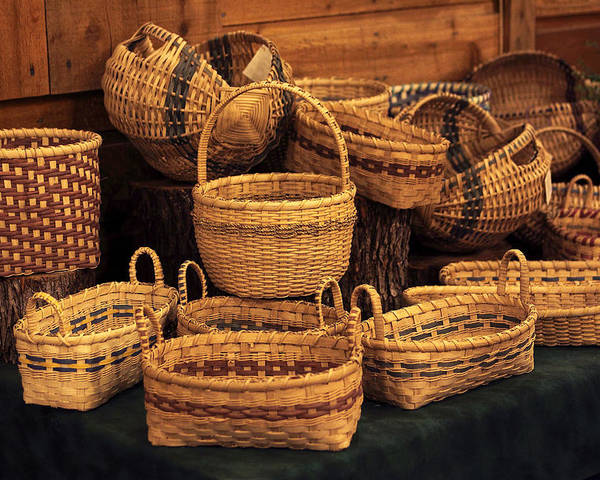 Baskets Poster featuring the photograph Handwoven Baskets by Linda Phelps