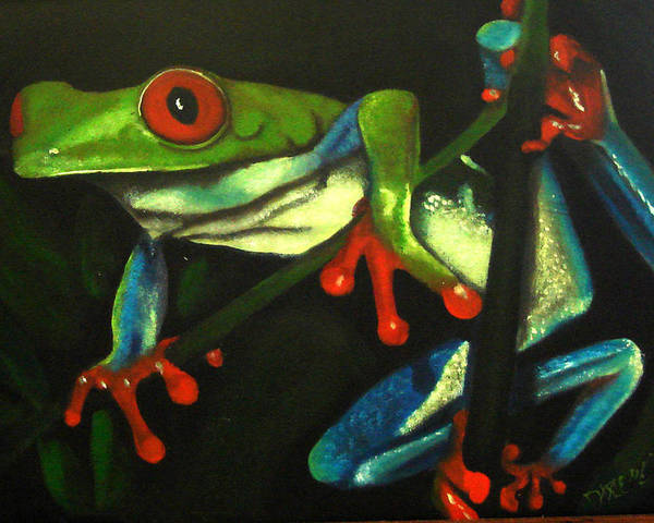 Red Eyed Tree Frog Poster featuring the painting Hangin Out by Darlene Green
