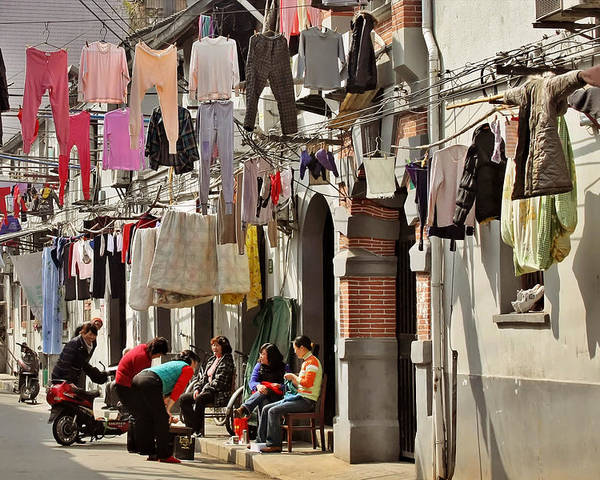 Clothes Poster featuring the photograph Hanging Out In The Streets Of Shanghai by Christine Till
