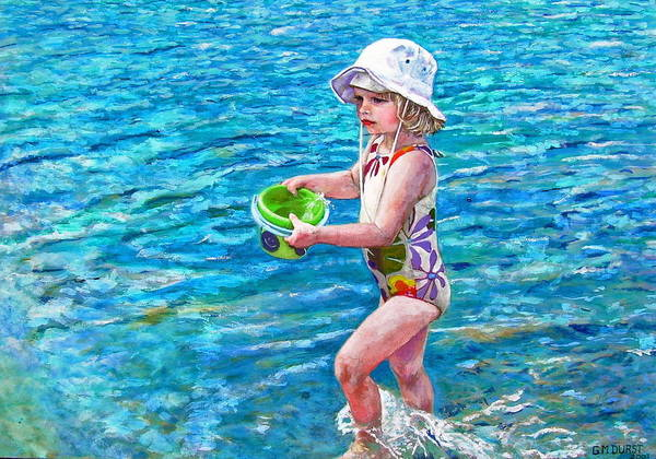 Children Poster featuring the painting Hannah By The Sea by Michael Durst