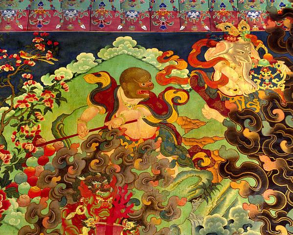 Craig Lovell Poster featuring the photograph Hanuman Mural - Sera Monastery Tibet by Craig Lovell