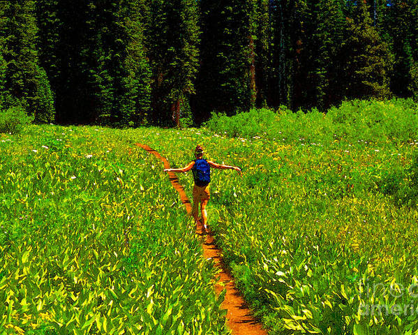 Hiking Poster featuring the painting Happiness Is A Trail by David Lee Thompson