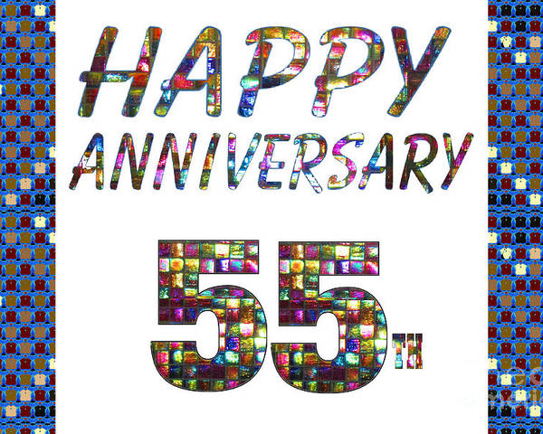 Happy 55 55th Anniversary Celebrations Design On Greeting Cards T
