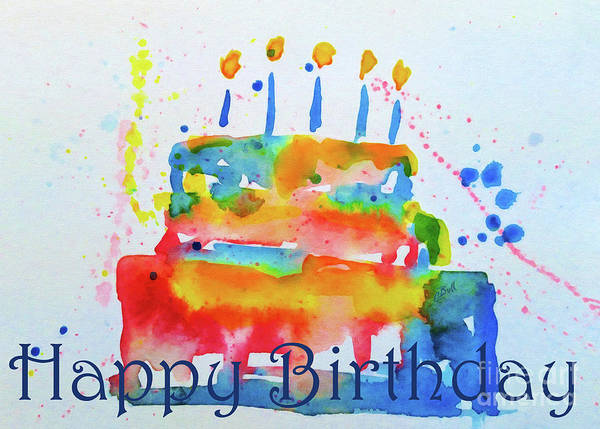 Birthday Poster featuring the painting Happy Birthday Blue Cake by Claire Bull