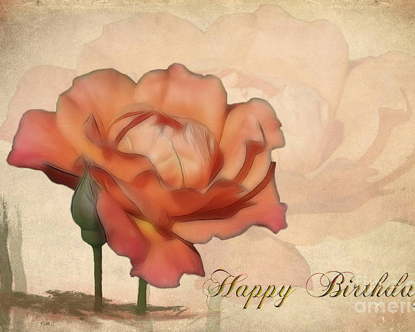 Flower Poster featuring the photograph Happy Birthday Peach Rose Card by Teresa Zieba