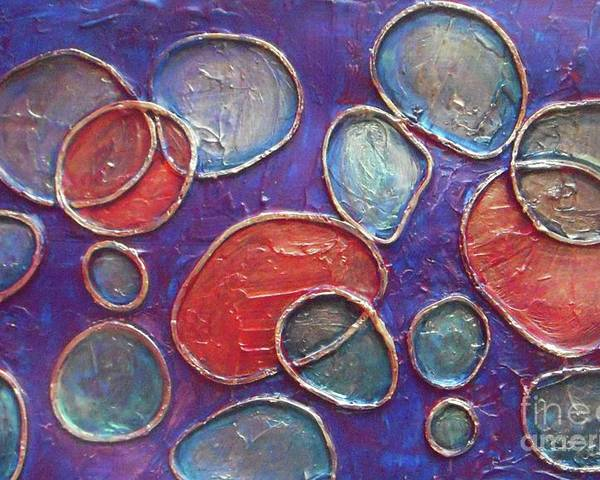 Circles Poster featuring the painting Happy Bubbles by Vesna Antic