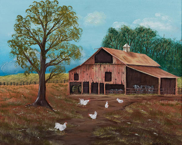 Landscape Poster featuring the painting Happy Chickens by Julia Ellis
