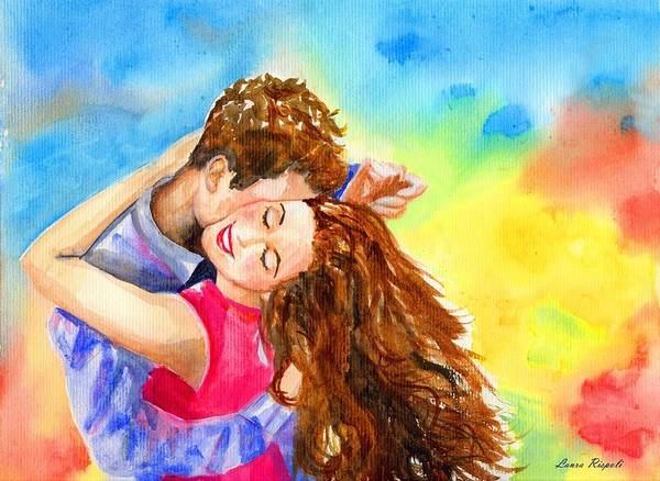 Cheerful Poster featuring the painting Happy Dance by Laura Rispoli