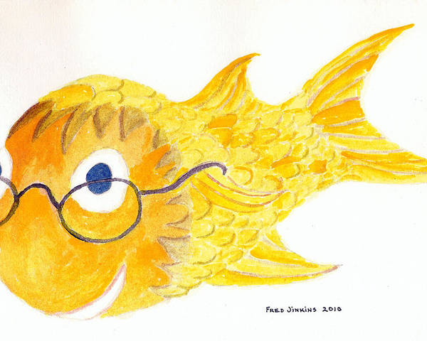 Happy Fish Print Poster featuring the painting Happy Golden Fish by Fred Jinkins