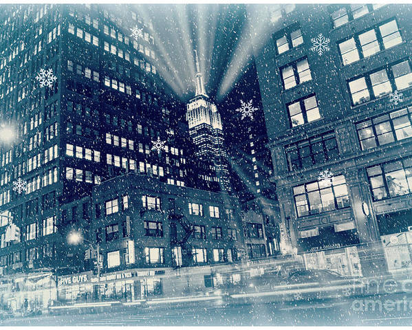 New York City Poster featuring the photograph Happy Holidays From New York City by Rima Biswas