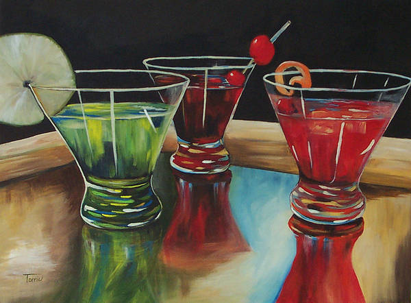 Cosmopolitan Poster featuring the painting Happy Hour 2007 by Torrie Smiley