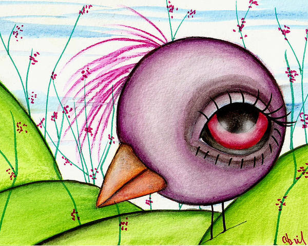 Crow Poster featuring the painting Happy Purple by Abril Andrade Griffith