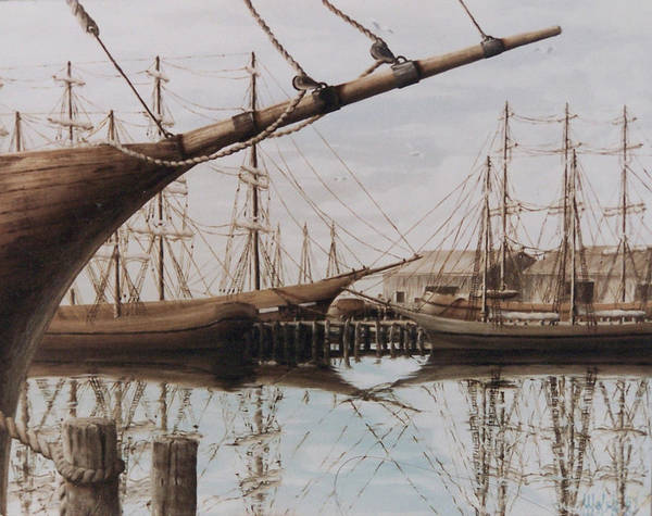 Ships Poster featuring the painting Harbor At Rest by Steven Welch