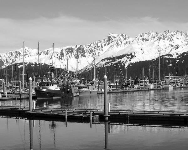 Black And White Poster featuring the photograph Harbor Boats by Ty Nichols