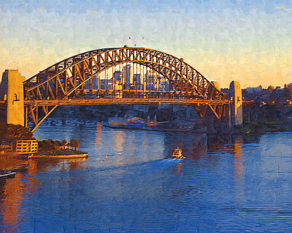 Sydney Poster featuring the photograph Harbor Bridge At Sunset by Tom Reynen