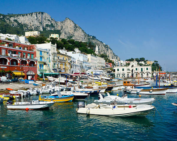 Isle Of Capri Italy Harbor Poster featuring the photograph Harbor Of Isle Of Capri by Jon Berghoff