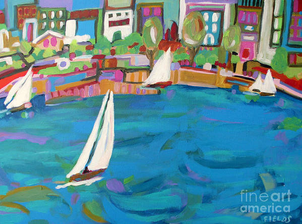 Sailing Poster featuring the painting Harbor Sails by Karen Fields