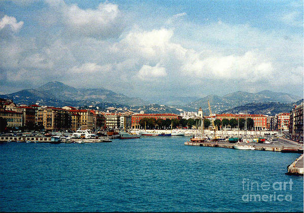 Landscape Poster featuring the photograph Harbor Scene In Nice France by Nancy Mueller