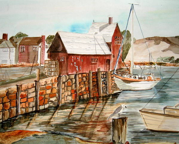 Original Art Poster featuring the painting Harbor Scene New England by K Hoover