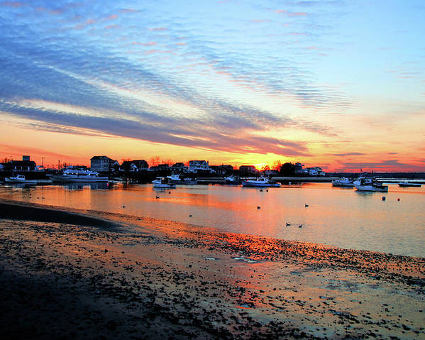 Seabrook Harbor Low Tide Sunset Fishing Boats Hampton River Clam Flats Poster featuring the photograph Harbor Sunset At Low Tide by Wayne Marshall Chase