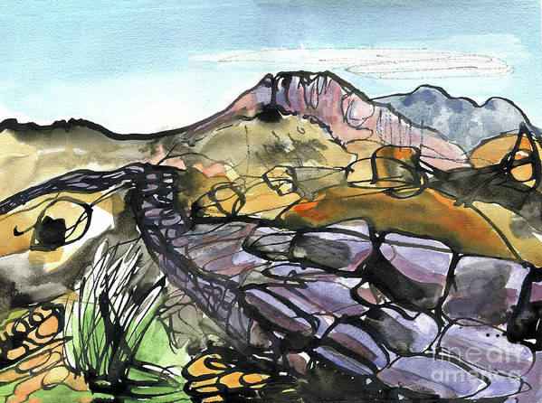 Hardknott Roman Fort - English Lake District - Watercolour Painting - Mountain Scenery - Landscape Painting -elizabethafox Poster featuring the painting Hardknott Roman Fort by Elizabetha Fox