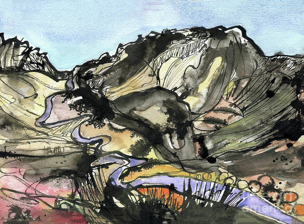 Hardknott Summit Road - English Lake District - Watercolour Painting - Mountain Scenery - Landscape Painting -elizabethafox Poster featuring the painting Hardknott Summit Road by Elizabetha Fox