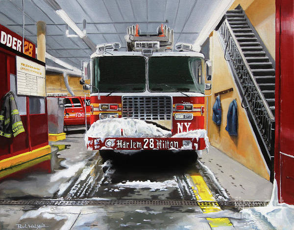 Fdny Poster featuring the painting Harlem Hilton Ladder 28 by Paul Walsh