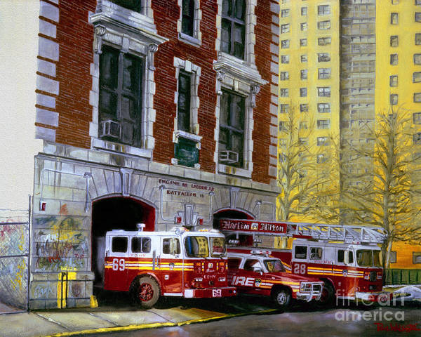 Fdny Poster featuring the painting Harlem Hilton by Paul Walsh