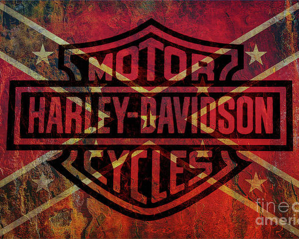 Harley Davidson Logo Confederate Flag Poster