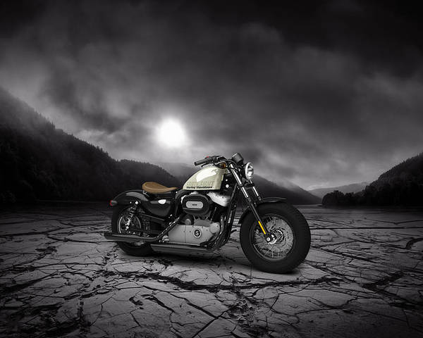 Harley Davidson Poster featuring the digital art Harley Davidson Sportster Forty Eight 2013 Mountains by Aged Pixel
