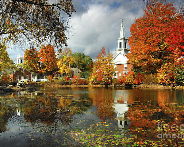 Harrisville New Hampshire Poster featuring the photograph Harrisville New Hampshire - New England Fall Landscape White Steeple by Jon Holiday