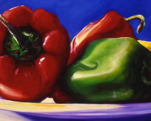 Still Life Poster featuring the painting Harvest Festival Peppers by Shannon Grissom
