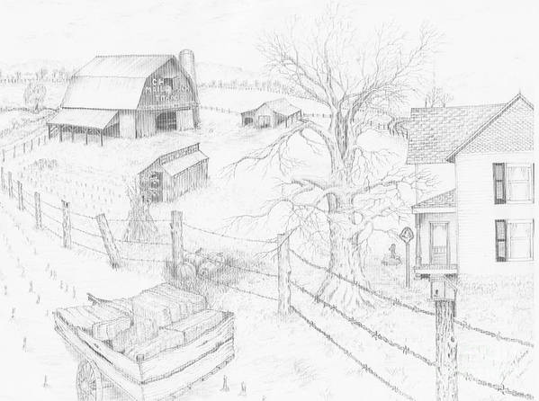 Realistic Drawing Poster featuring the drawing Harvest Time At Home by Dan Theisen