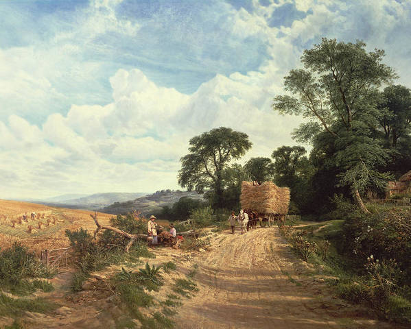 Landscape Poster featuring the painting Harvest Time by George Vicat Cole