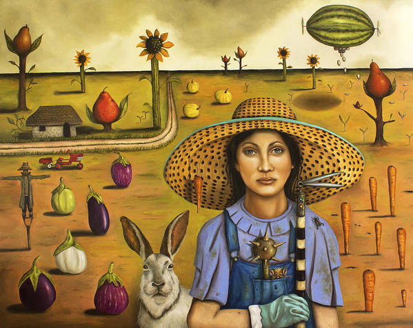 Rabbit Poster featuring the painting Harvey And The Eccentric Farmer by Leah Saulnier The Painting Maniac