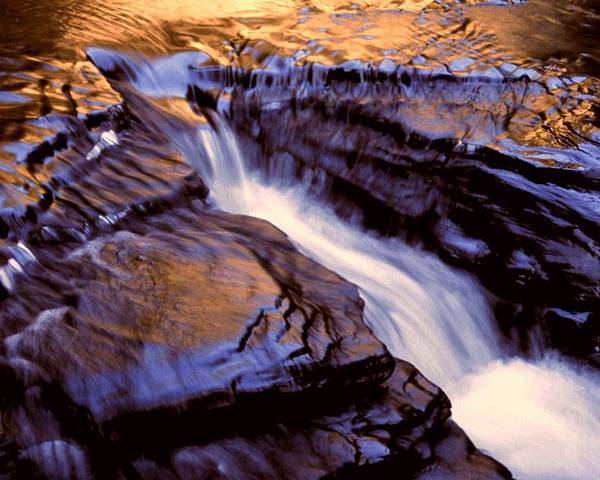 Abstract Poster featuring the photograph Havana Glen Reflection by Roger Soule