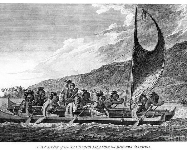 1779 Poster featuring the photograph Hawaii: Canoe, 1779 by Granger