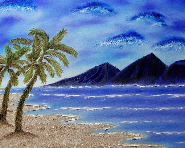 Palm Tree Poster featuring the painting Hawaiian Palms by Marie Lamoureaux