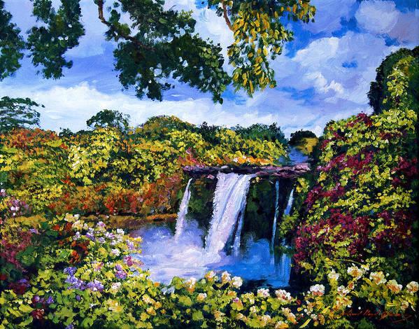 Hawaii Poster featuring the painting Hawaiian Paradise Falls by David Lloyd Glover