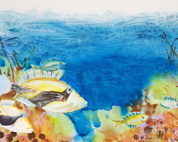 Animal Art Poster featuring the painting Hawaiian Triggerfish by Tanya L Haynes - Printscapes