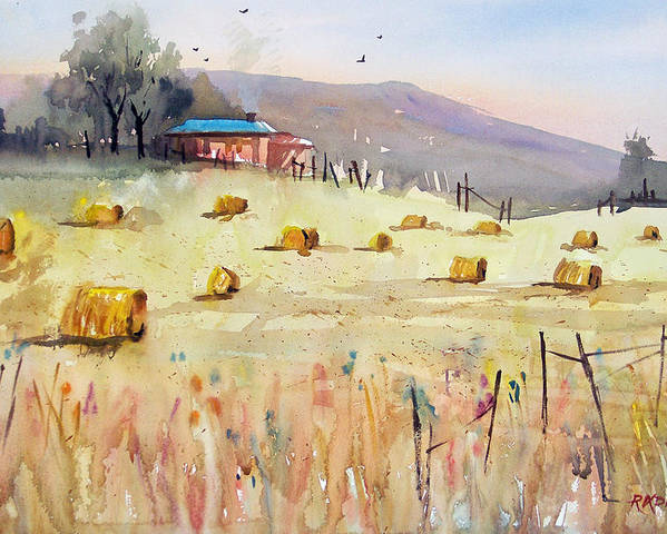Watercolor Poster featuring the painting Hay Bales by Ryan Radke