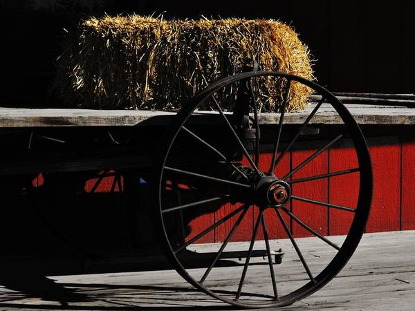 Hay On Wheels Poster featuring the photograph Hay On Wheels by Lori Mahaffey